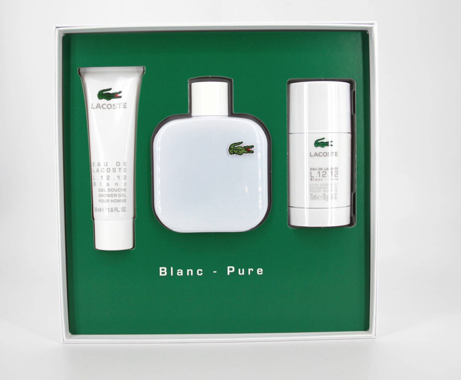 separation shoes cceac 9369e Lacoste 12.12 Blanc Pure SET 100ml EDT + 75ml Deo Stick + 50ml Duschgel